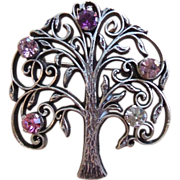 Vintage Anson Sterling Silver Tree of Life Pin Brooch 5 Stones Clear Pink Purple