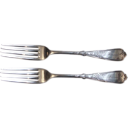Rogers 1879 Newport Chicago 2 Silverplate Dinner Forks Mono Fannie 7 1/2""