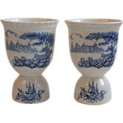 Pair Johnson Brothers Castle on the Lake Blue Double Egg Cups
