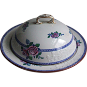 Copeland Spode Pottery 2-6197 Muffin Dish With Dome Lid Pink Roses Blue Greek Key Border