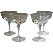 Noritake Carolyn Crystal Set of 4 Sherbet Coupe Champagne Glasses