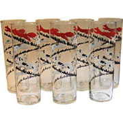 7 Vintage Libbey Tally Ho Fox Hunt Tom Collins Cooler Glass Drinking Tumblers