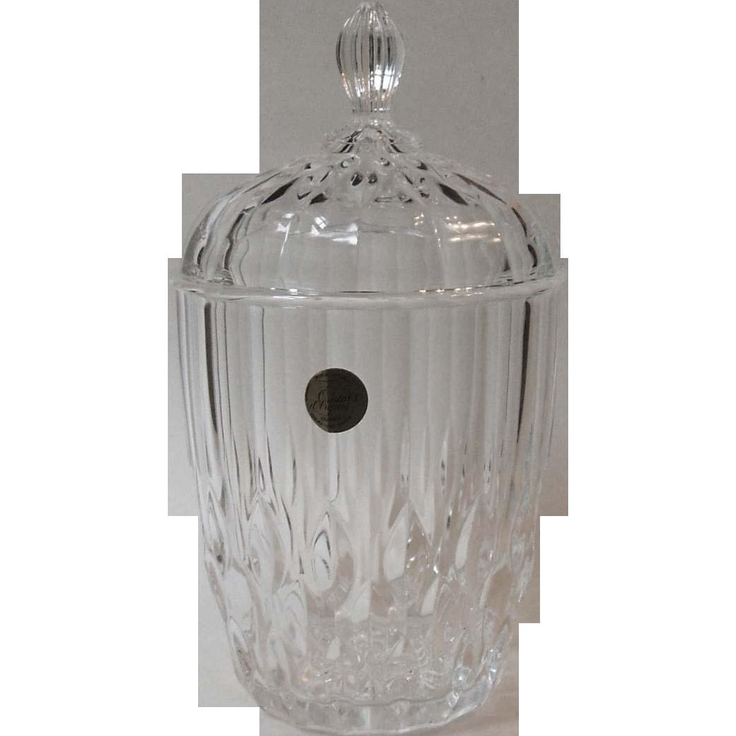 durand cristal d 39 arques bretagne biscuit barrel with lid. Black Bedroom Furniture Sets. Home Design Ideas
