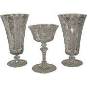 Tiffin Glass Fuchsia Etch 15083 2 Iced Tea Glasses 1 Sherbet Champagne Glass Crystal Stemware