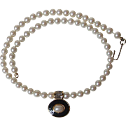Vintage marvella Faux Pearl 16 Inch Necklace with Rhinestone Enamel Pendant Gold Tone