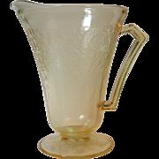 Hazel Atlas Florentine Poppy No 2 Pitcher Yellow Depression Glass Cone Foot 28 Ounce