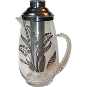 Vintage Silver Deposit Lily of the Valley Glass Beverage Cocktail Pitcher with Ice Tube Insert