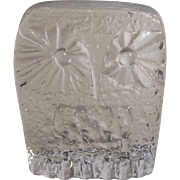 Blenko DAS Owl Paperweight 3.25 Inch Mid Century Modern Clear Art Glass Don Shepherd Ice Floe Line