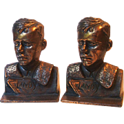 Vintage Verona Lindy Charles Lindbergh Cast Metal Bookends Aviation Circa 1920s