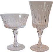 Lenox Crystal Flourish Older Stemware Water Goblet and Sherbet Champagne Glass 1970s