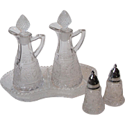 Duncan and Miller Clear Sandwich Cruet Set with Divided Tray Relish Dish and Mini Salt and Pepper Shakers