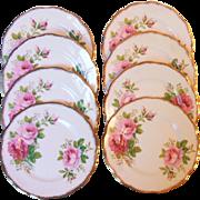 Royal Albert American Beauty Set 8 Bread Plates Brushed Gold Trim 6.25 Inch Bone China England