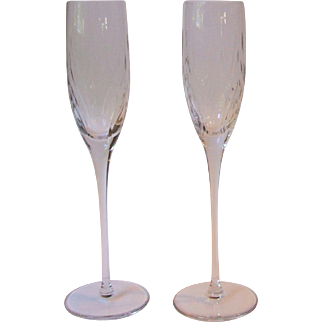 2 Fostoria Glass San Francisco Crystal Fluted Champagne Glasses