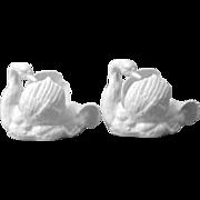 Pair Vintage Crown Staffordshire White Bone China Grooming Swan Figural Posy Vases Bowls England
