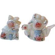 Fenton Glass 2 Fools in Love Clown Figurines 5216 5218 FH Iridized Opal with Frit Hand Painted Roses