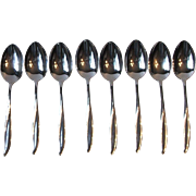 Gorham Stegor Waikiki Set of 8 Oval Bowl Soup Spoons Stainless Steel USA