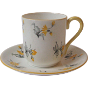Shelley China Charm 13863 Miniature Cup and Saucer Yellow Flowers and Trim