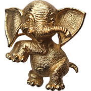 Vintage Crown Trifari Gold Tone Figural Elephant Pin Brooch Dancing Laughing