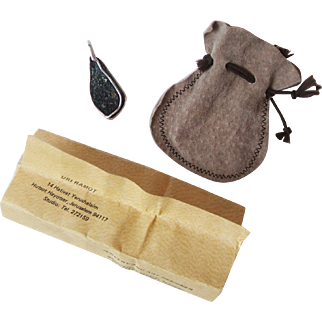 1988 Uri Ramot 950 Silver and Roman Glass Pendant With Certificate of Authenticity and Leather Pouch