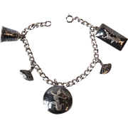 Vintage Siam Black and Silver Niello Ware Charm Bracelet 7 Inch