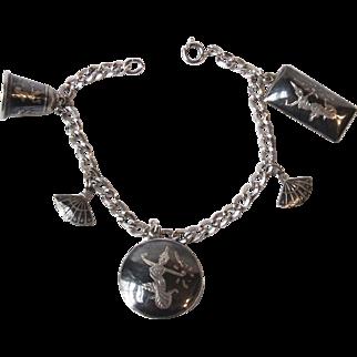 Vintage Siam Black and Silver Niello Ware Charm Bracelet 7 Inch