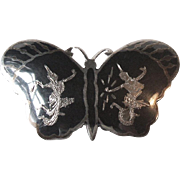 Vintage Siam Black and Sterling Silver Niello Ware Figural Butterfly Brooch