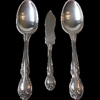 1948 Gorham Melrose Sterling 2 Serving Spoons 1 Flat Handle Master Butter Knife