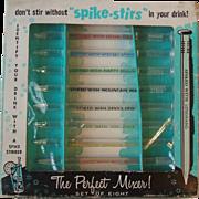 Vintage Boxed Set 8 Dorcy Spike Stirs Novelty Swizzle Sticks Glass Identify Drink