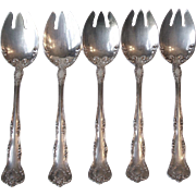 5 Rogers 1913 Argyle Silverplate Ice Cream Forks International Silver Co. Flatware
