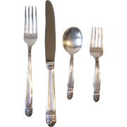 Holmes and Edwards 1938 Danish Princess Silverplate Baby Spoon and Fork, Youth Knife and Fork
