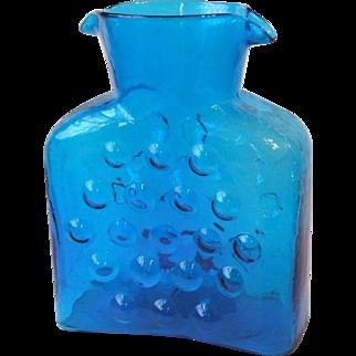 Blenko Glass Blue Double Spout Bubble Water Bottle 3 Bubble Top Row Unsigned