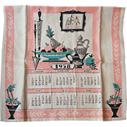 Vintage 1958 Linen Calendar Tea Dish Kitchen Towel Mid Century Fifties Colors
