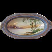 Vintage Nippon China Oval Dish Hand Painted Cottage Boat River Lake Scene Gold Blue Laurel Trim
