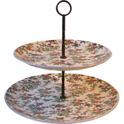 Canonsburg Steubenville Pottery STB130 Tropical Bird and Floral Chintz 2 Tier Tidbit Center Handle Serving Tray