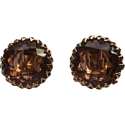 Vintage Signed Schreiner Clip On Unfoiled Rhinestone Earrings Open Prong Gold Tone