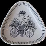 Arabia of Finland Pottery Emilia Bicycle Flower Girl Triangular Dish 6.5 Inch Mid Century Modern