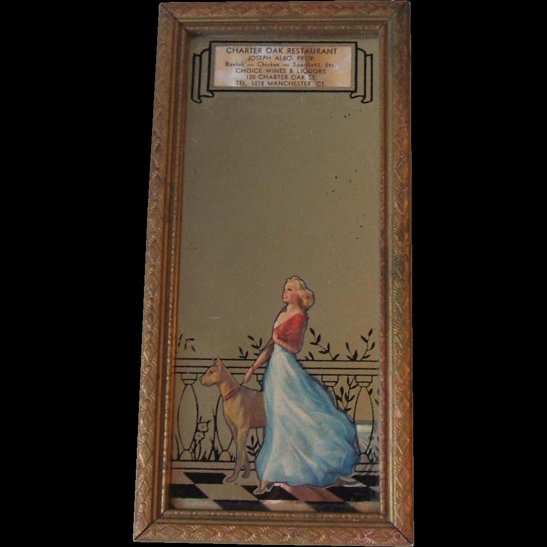 Vintage Charter Oak Restaurant Advertising Mirror Now