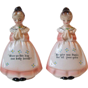 Vintage Enesco Mother in the Kitchen Prayer Lady Salt and Pepper Shakers Pink E-3348