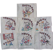 Set  of 7 Vintage Cat Kitten Chores Days of the Week Tea Kitchen Towels Hand Embroidered
