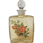 Vintage Glass Cologne Bottle Rose Bouquet Decal Gold Spatter South Carolina Gift Shop Item