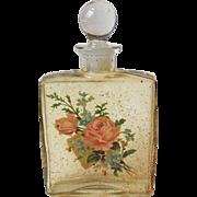 Vintage Glass Cologne Bottle Rose Bouquet Decal Gold Spatter South Carolina Gift Shop Item
