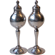 Vintage WB Mfg Co Weidlich Bros Silverplate Tall Footed Salt and Pepper Shakers C-31