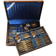 GES Gustav Ebel Germany 120 Silver Plate Flatware Set in Chest Service for 12, 14 Serving, 74 Pieces 1960s