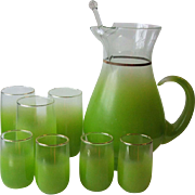 West Virginia Glass Specialty Blendo Lime Green Cocktail Pitcher and Stirrer 3 Tumblers 4 Juice Glasses 1950s