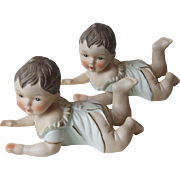 Vintage Pair Identical Twin KPM Germany Bisque Porcelain Piano Baby Figurines 6 Inch