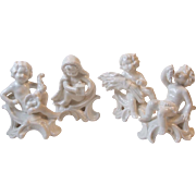 Set 4 Goebel W Germany White Putti Baby Cherub Figurines 1977 Grapes, Lantern, Cornucopia, Wheat and Sickle