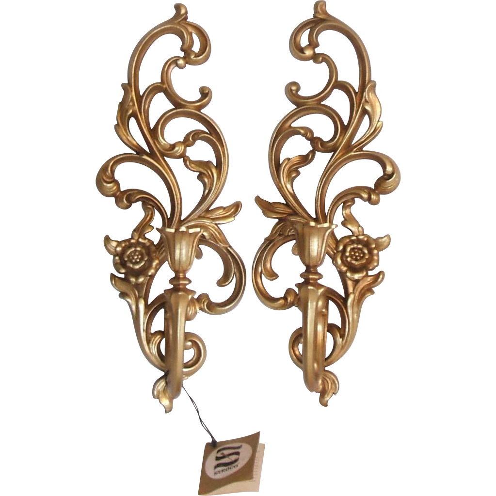 Vintage Pair Syroco Floral and Scroll Gold Finish Wall Candle Sconces from missingmemories on ...