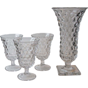Fostoria Glass American 3 Clear Low Water Goblets and Square Footed Flower Vase 9.75 Inch