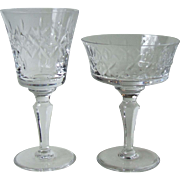 Royal Doulton England Mirabeau Crystal Wine Glass and Tall Sherbet / Coupe Champagne Glass