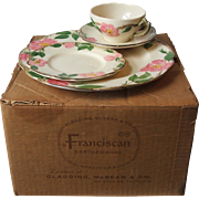 Franciscan China Desert Rose 16 Piece Set Service for 4 New in Original Box Gladding McBean USA Brown Mark Vintage